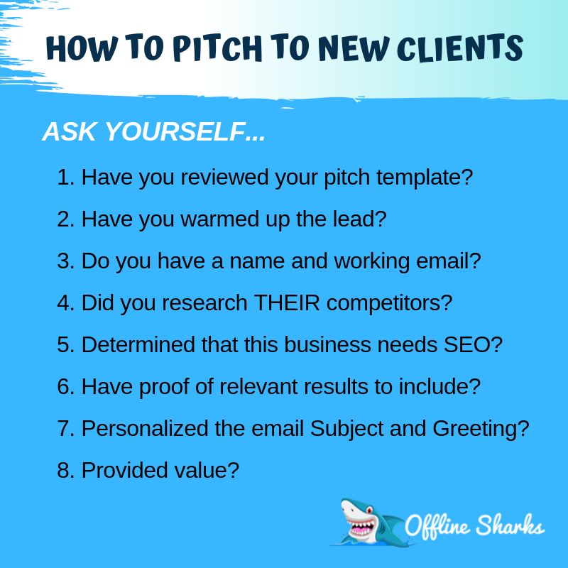 Pitch New Clients SEO Checklist Offline Sharks