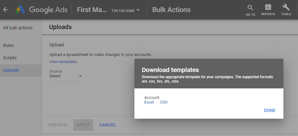 Managing Multiple AdWords Accounts Bulk Templates
